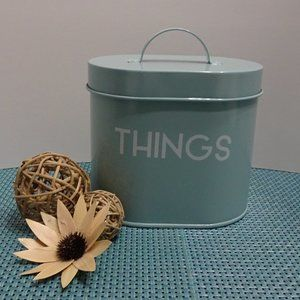 "RAE DUNN ""THINGS"" Teal Tin Can Canister Lid Cover"